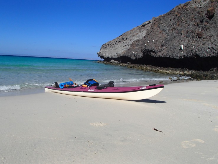 This is my kayak in the shelter of Punta Tecolote.  Never before had a calm beach been so welcoming.